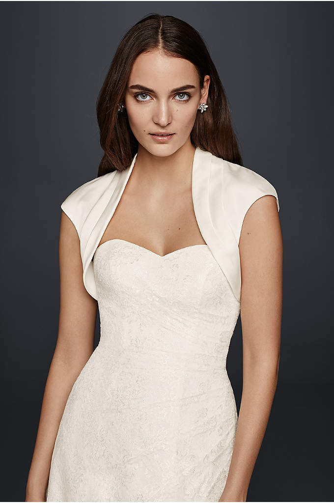 Pleated Satin Bolero with Cap Sleeves - Add a tailored element to a sleeveless or