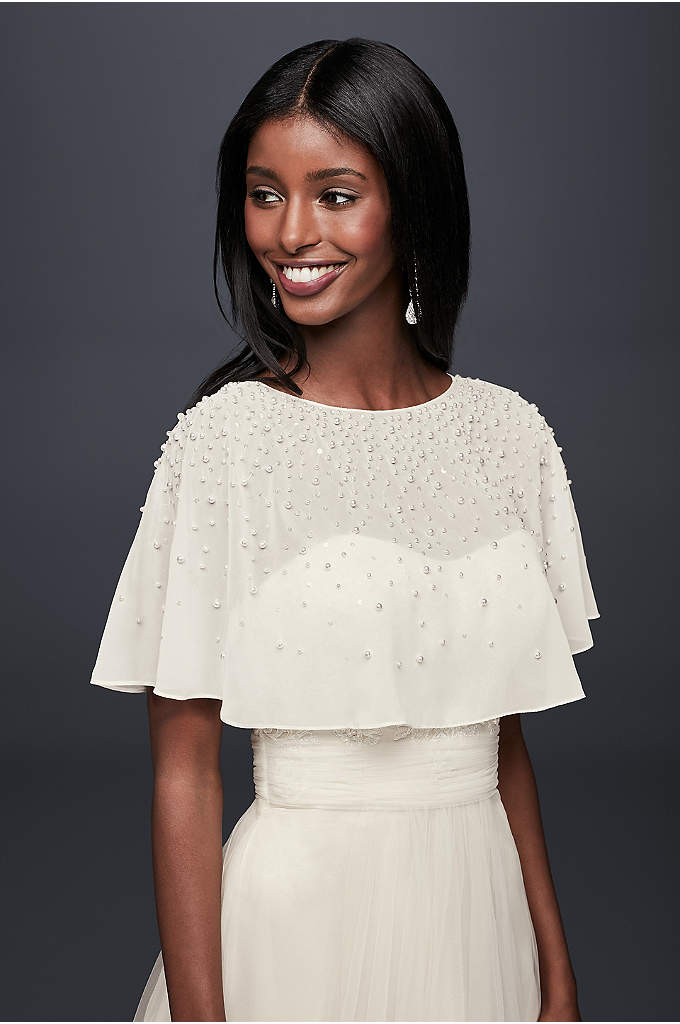 Pearl and Crystal Chiffon Capelet - Lustrous gems dot this airy chiffon topper. Wear
