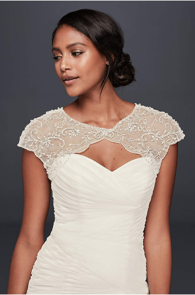 Floral-Beaded Scalloped Dress Topper - Create a cap sleeve look with this beaded
