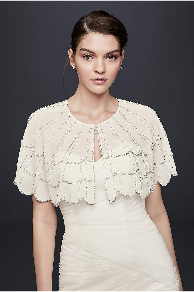 Scalloped Chiffon Capelet with Beading - Fine beaded lines and bold sequin scallops detail