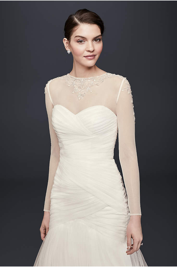 Filigree Beaded Long-Sleeve Dress Topper - Slip this sheer, beaded tulle bodice beneath a