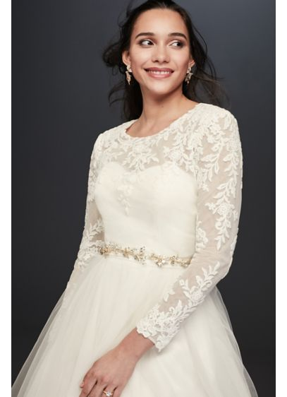Embroidered lace long sleeve dress topper davids bridal for Long sleeve wedding dress topper