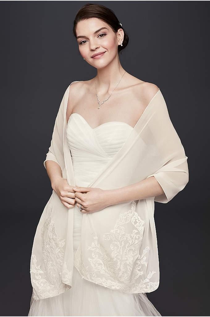Lace Placement Chiffon Wrap - Drape this ornate lace applique wrap over your