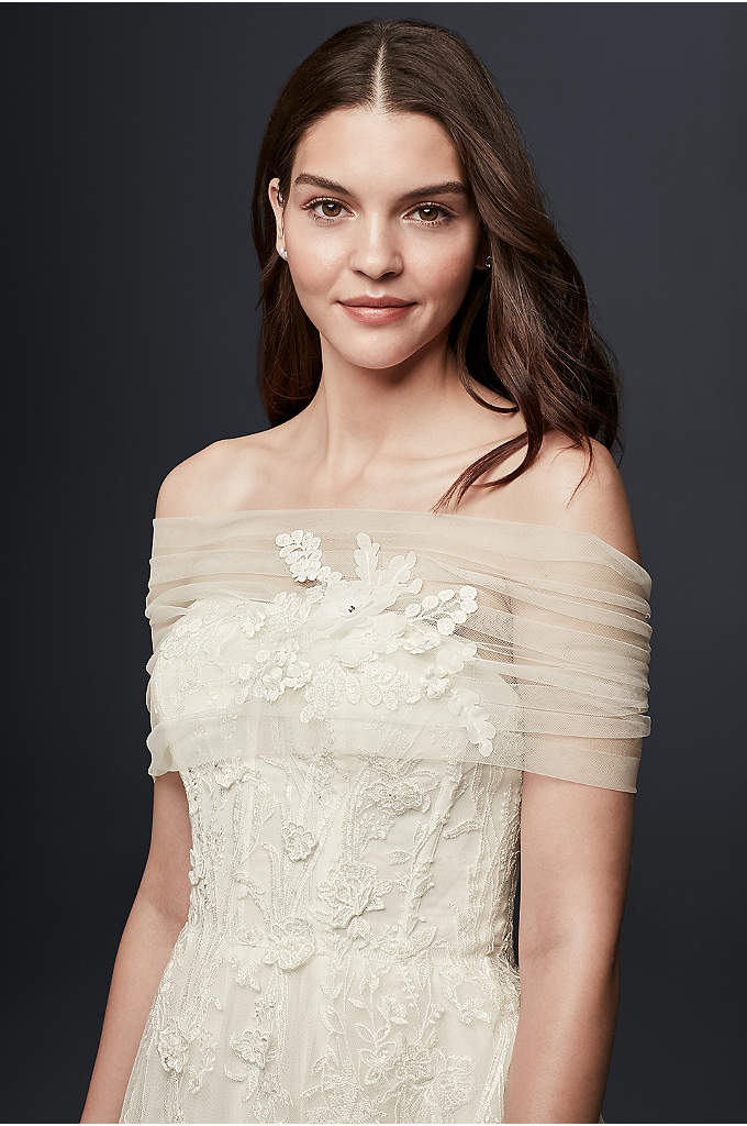 Pleated Tulle Off-the-Shoulder Wrap with Flowers - Give any strapless dress a touch of romantic
