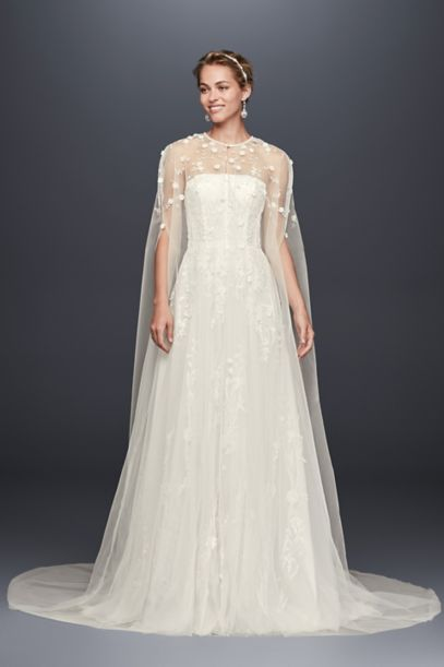 Long Tulle Cape With 3d Flowers David S Bridal