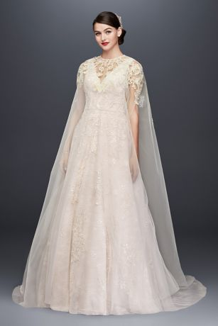 Long Tulle Cape with Metallic Floral Appliques | David\'s Bridal