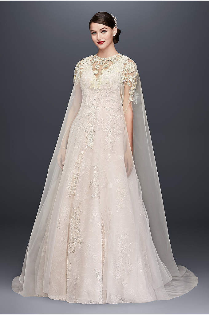 Long Tulle Cape with Metallic Floral Appliques - Make a stunning style statement with this wispy