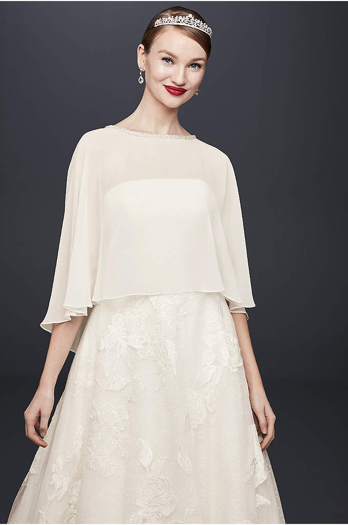 Chiffon Capelet with Beaded Neckline - This chiffon capelet is the perfect flowy coverage