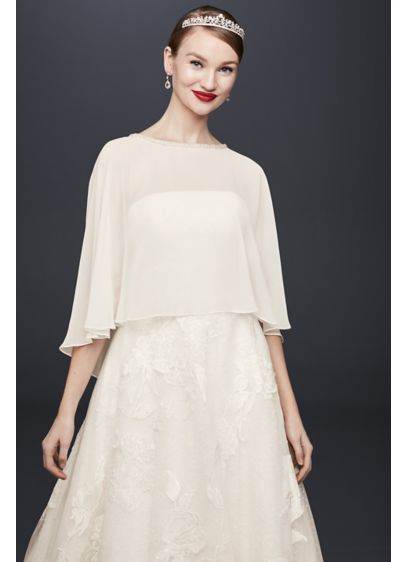 Chiffon Capelet with Beaded Neckline - Wedding Accessories