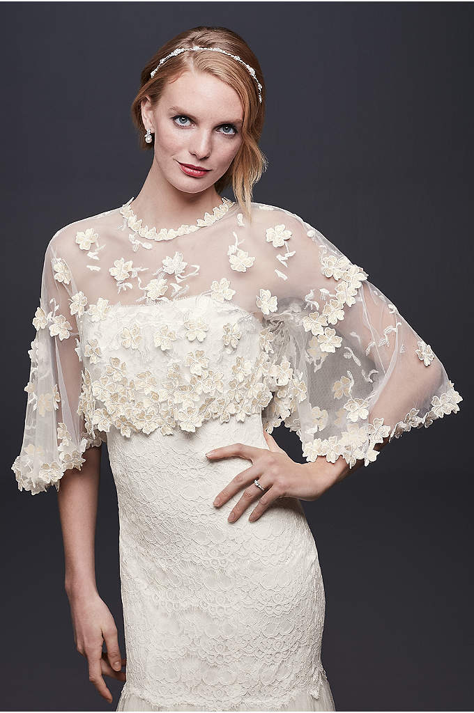 Bell Sleeve Tulle Topper with 3D Flowers - This beautiful bell sleeve tulle topper is scattered