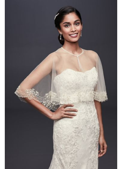 Scalloped Tulle Capelet with Pearls and Sequins - Wedding Accessories
