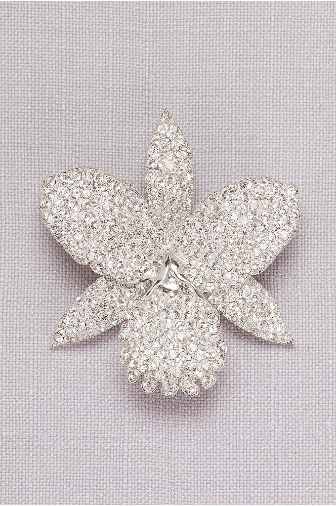 Pave Orchid Brooch - An orchid-shaped brooch topped with dozens of pave