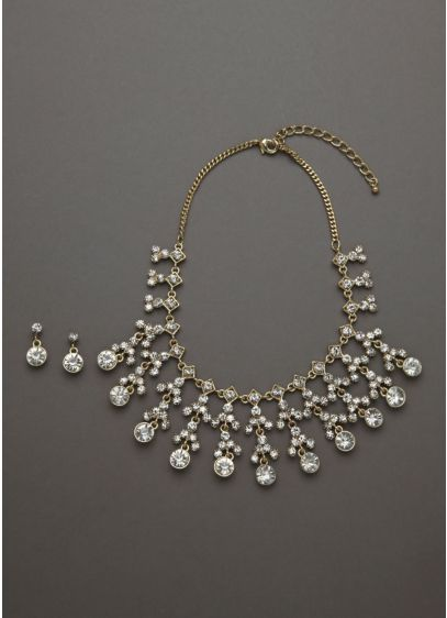 Pearl and Crystal Necklace and Earring Set - Wedding Accessories