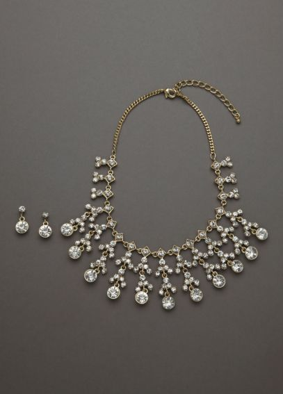 Pearl and Crystal Necklace and Earring Set P15444S02