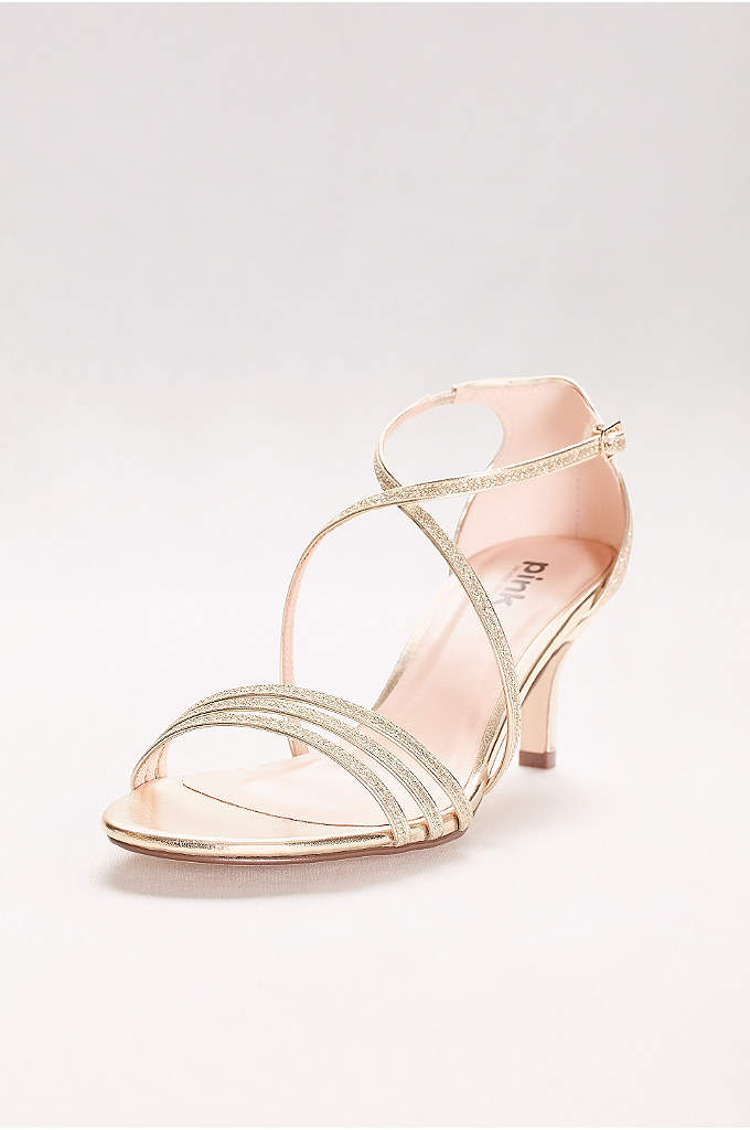 Isla Delicate Thin Strap Metallic Low Heel Sandals - Glitter-encrusted straps add drama and interest to these