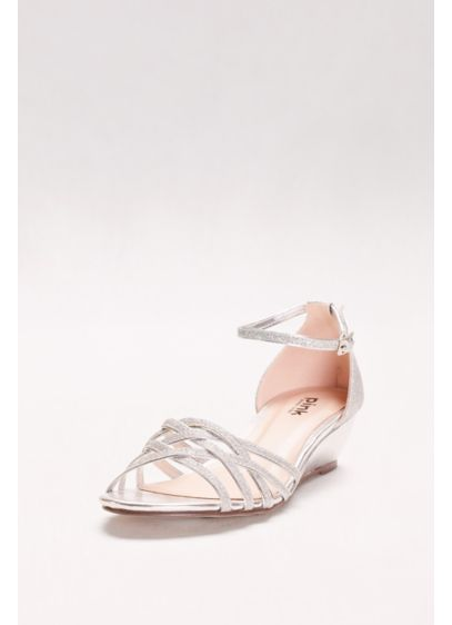 Pink Paradox Grey (Avery Glitter Mini Wedges with Woven Detail)