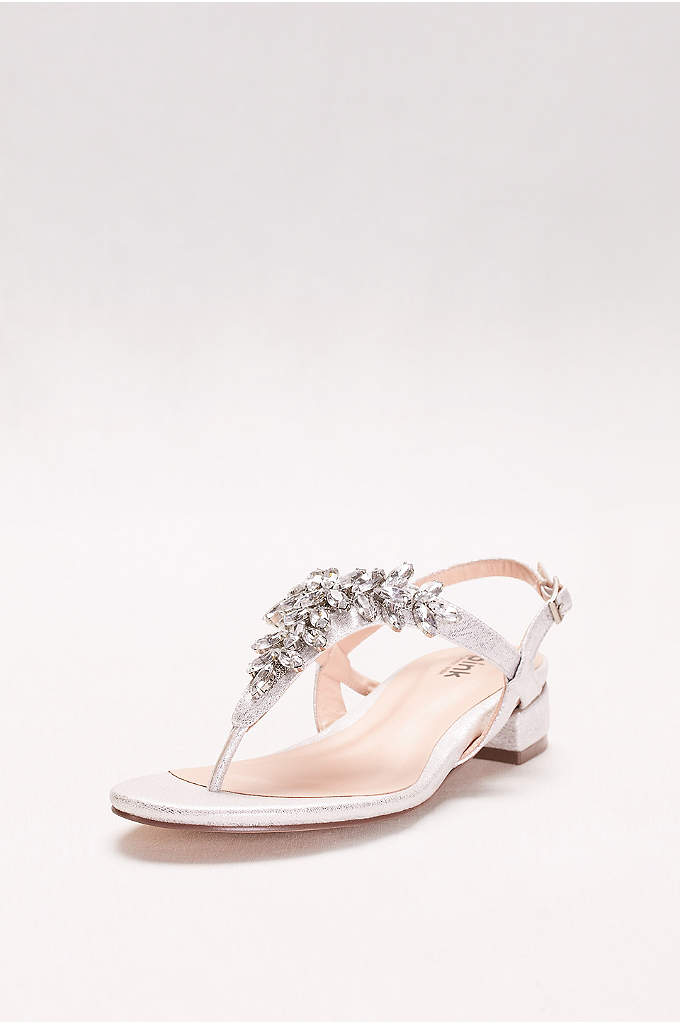 Flame Glitter Thong Sandals with Low Block Heel - A low, and walkable take on the super-chic