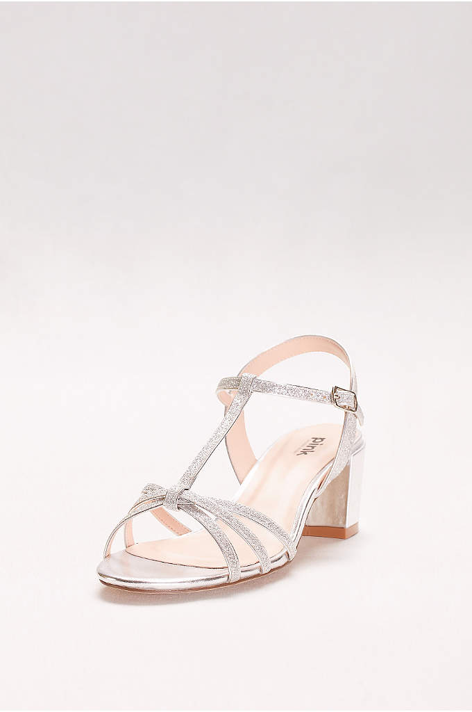 Sadie Glitter Block Heel T-Strap Sandals - The super-chic block heel trend is ready for