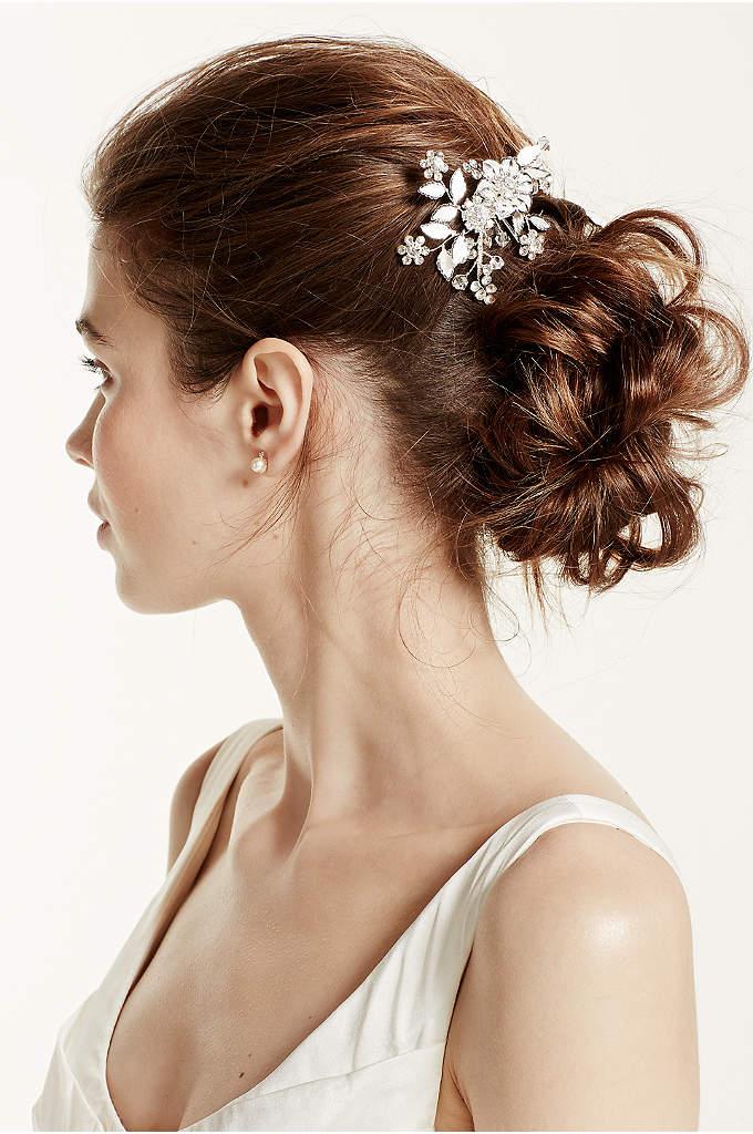 Floral and Crystal Motif Hairpin - Amp up your bohemian bridal look with this