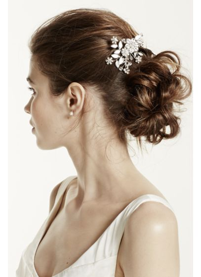 Floral and Crystal Motif Hairpin - Wedding Accessories