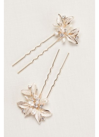 Textured Leaves Hairpins with Pearl Embellishments - Wedding Accessories