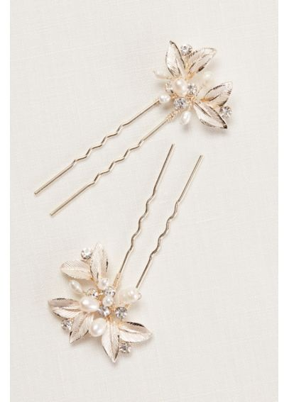 Textured Leaves Hairpins with Pearl Embellishments P9109