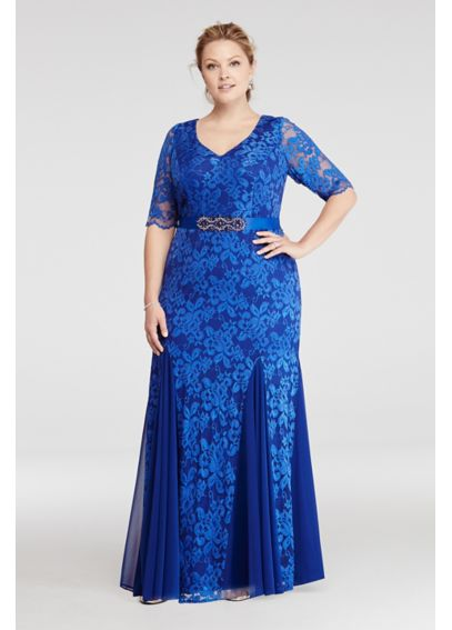 Lace Dress with Godet Skirt and Beaded Waist P9986