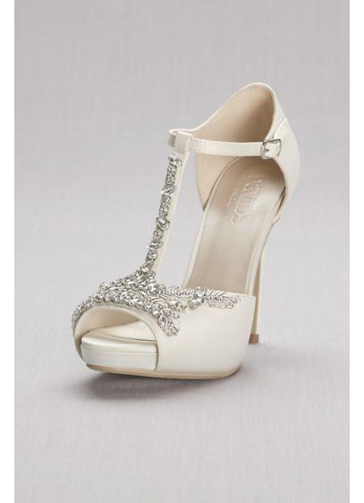 David's Bridal Ivory (Crystal T-Strap Satin Peep Toe Platform Heels)