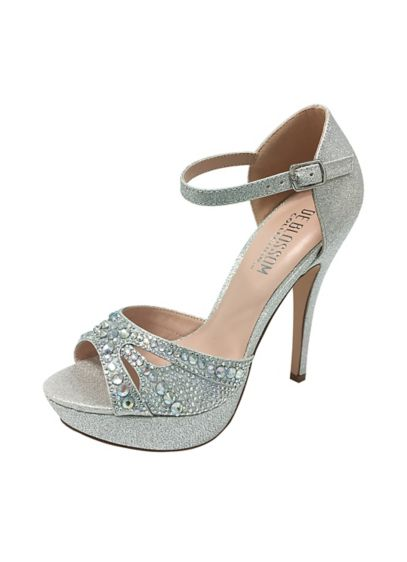 Blossom Grey (Iridescent Crystal Mary-Jane Platform Heels)