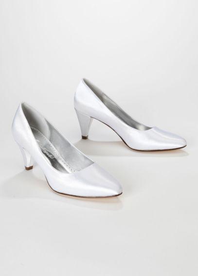 Dyeable Satin Mid Heel Pump Davids Bridal