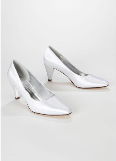 White (Dyeable Satin Mid Heel Pump)