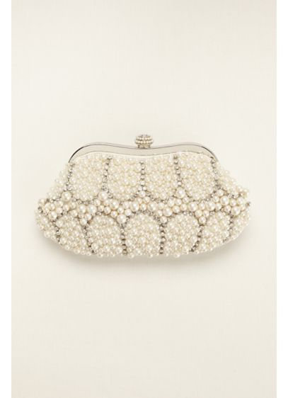 Expressions NYC Mixed Pearl and Crystal Clutch - Wedding Accessories