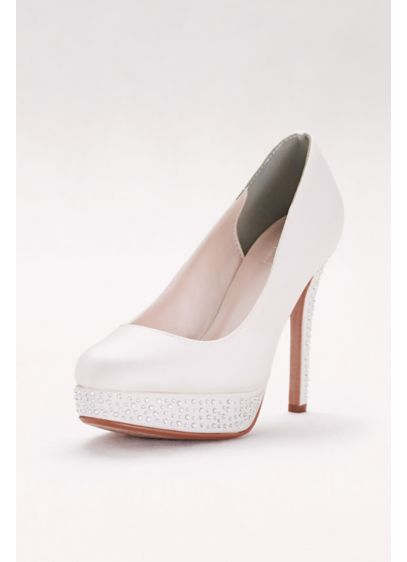David's Bridal White (Round-Toe Satin Pumps with Crystal Platform)