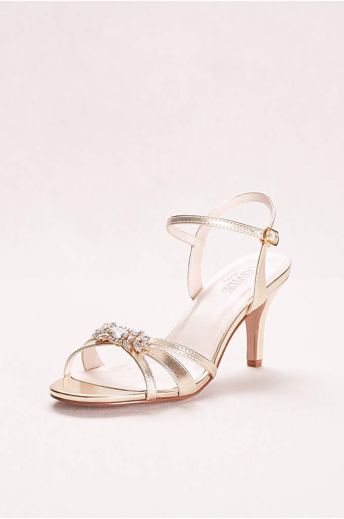 Mid-Heel Sandal with Crystal Embellishment - The perfect balance between a high heel and