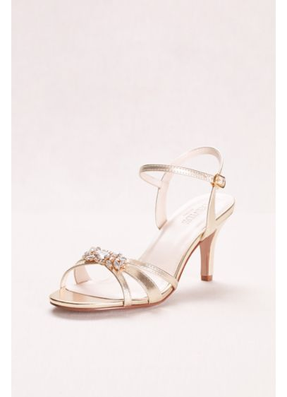 David's Bridal White (Mid-Heel Sandal with Crystal Embellishment)