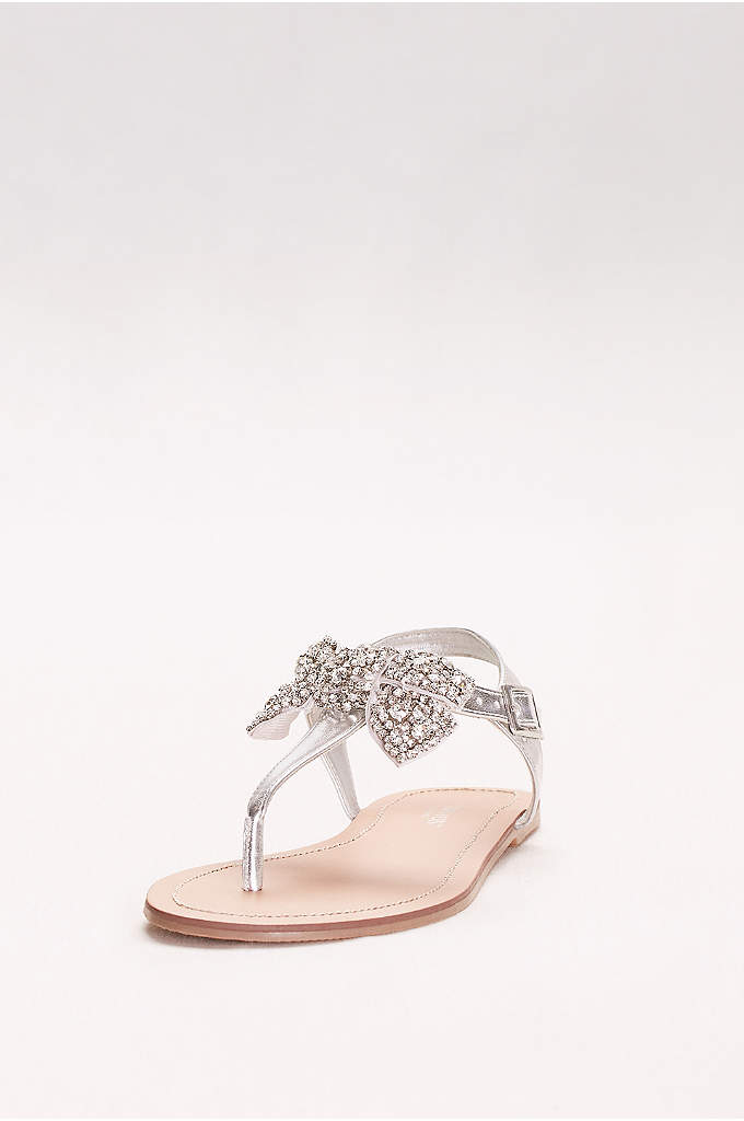 Metallic T-Strap Sandals with Embellished Bow - These glitzy, jeweled-bow sandals dress the part with