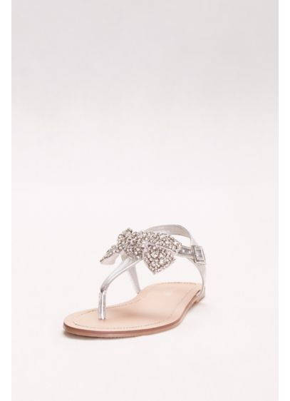 Metallic T-Strap Sandals with Embellished Bow - Wedding Accessories