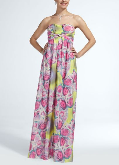 Long Strapless Printed Chiffon Dress PJS3V5113