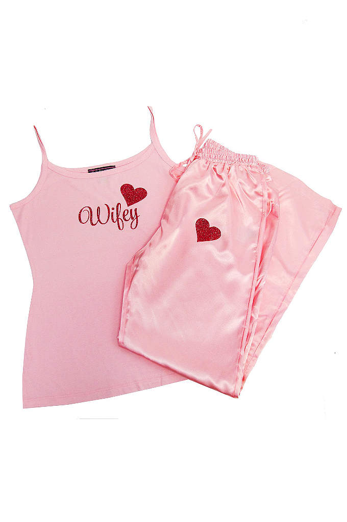 Glitter Print Pink Wifey Pajama Set - These cute pink pajamas would be a sweet