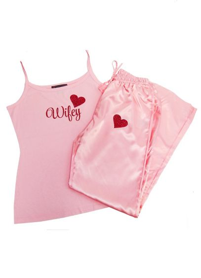 Glitter Print Pink Wifey Pajama Set - Wedding Gifts & Decorations