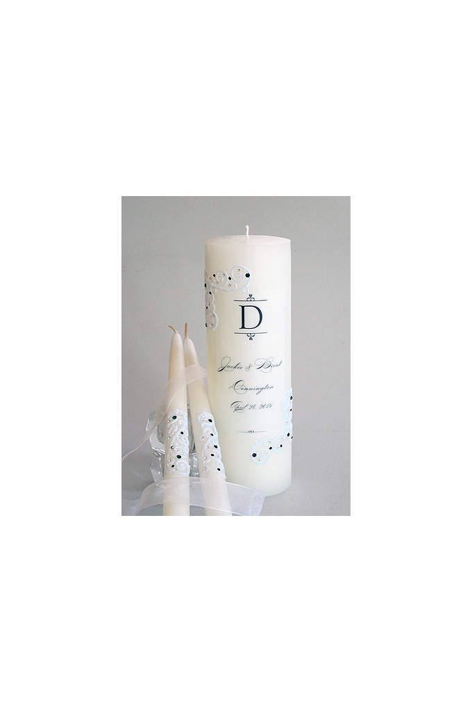 Personalized Piazza Lace Unity Candle Set - These heirloom quality dripless unity candles are hand