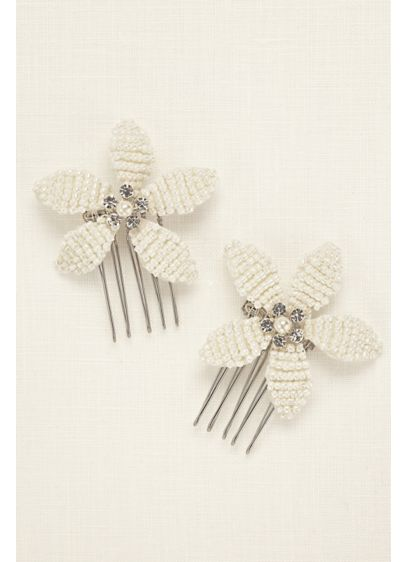 Pearl Flower Duo Hair Combs - Wedding Accessories
