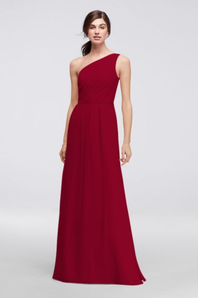 Side-Ruched One-Shoulder Bridesmaid Dress | David's Bridal