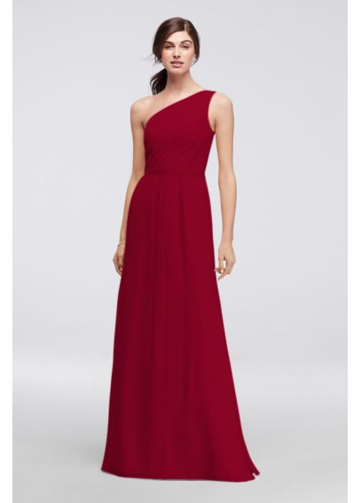 Side-Ruched One-Shoulder Bridesmaid Dress POB17003