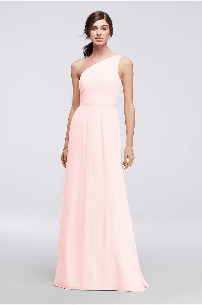 Side-Ruched One-Shoulder Bridesmaid Dress - Crinkle chiffon and matte crepe combine to form