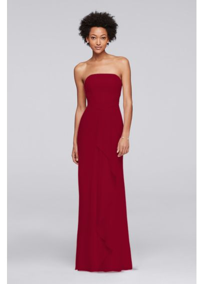 Crinkle Chiffon Bridesmaid Dress with Front Ruffle POB17005