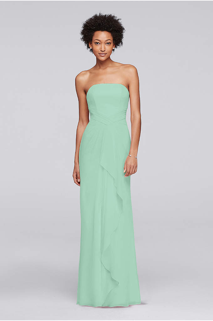 Crinkle Chiffon Bridesmaid Dress with Front Ruffle - A cascading ruffle and skirt slit enliven this