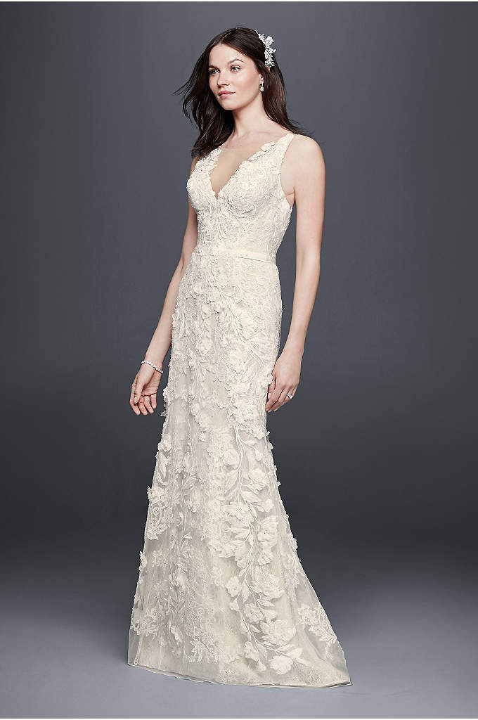Tank Sheath Wedding Dress with 3D Flowers - From the illusion tank V-neckline to the chapel