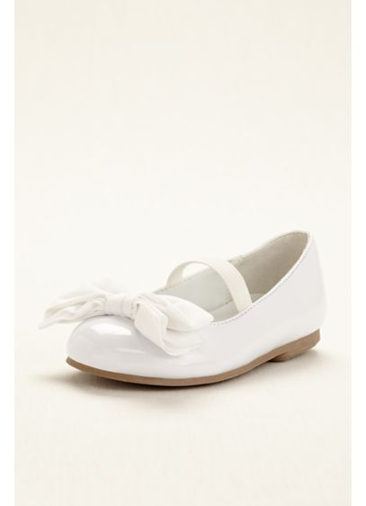 Touch of Nina White (Touch of Nina Flower Girl Ballet Flat with Bow)