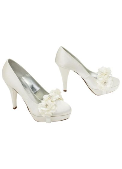 Charmeuse Pump with Removable Floral Corsage - Wedding Accessories